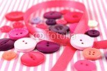 Murales Botones de colores y lazo rosa
